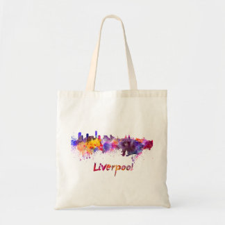 Liverpool skyline in watercolor tote bag