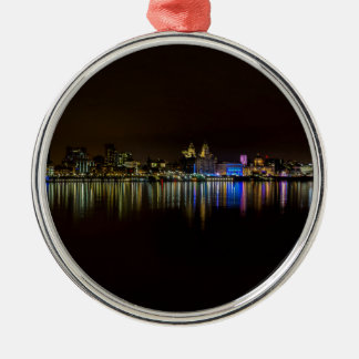 Liverpool Waterfront Silver-Colored Round Decoration