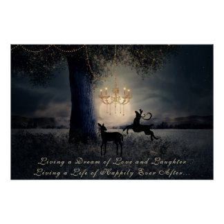 Living a Dream ~ Full Moon, Tree and Deer Poster