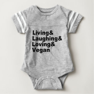 Living and Laughing and Loving and Vegan (blk) Baby Bodysuit