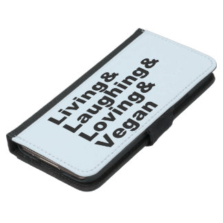 Living and Laughing and Loving and Vegan (blk) Samsung Galaxy S5 Wallet Case
