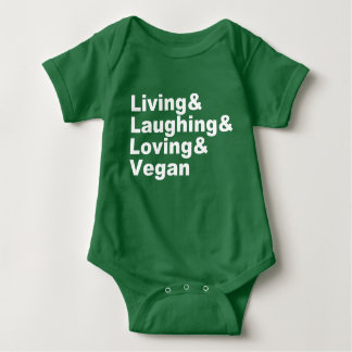 Living and Laughing and Loving and Vegan (wht) Baby Bodysuit