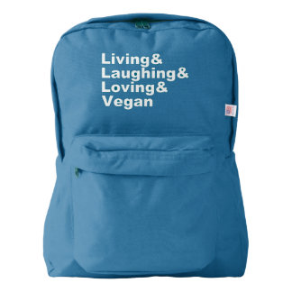 Living and Laughing and Loving and Vegan (wht) Backpack