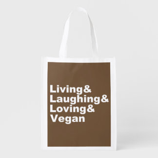 Living and Laughing and Loving and Vegan (wht) Reusable Grocery Bag