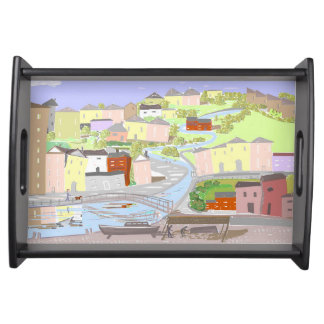 Living By The River, semi abstract picture Service Trays