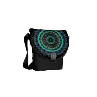 Living Green Mandala kaleidoscope mini messenger Messenger Bags