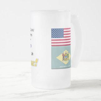 Living In Delaware! 16 oz Frosted Glass Mug
