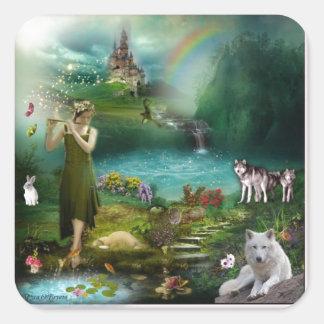 Living In Harmony Fantasy Design Square Sticker