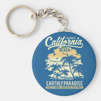 Living in Paradise Endless Summer California Beach Key Ring