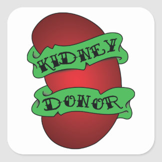 Living Kidney Donor Tattoo Square Sticker