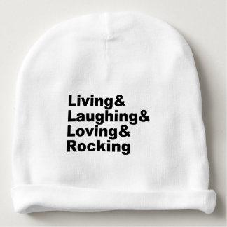 Living&Laughing&Loving&ROCKING (blk) Baby Beanie