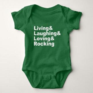 Living&Laughing&Loving&ROCKING (wht) Baby Bodysuit