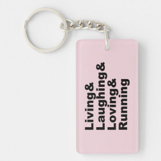 Living&Laughing&Loving&RUNNING (blk) Key Ring