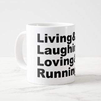 Living&Laughing&Loving&RUNNING (blk) Large Coffee Mug