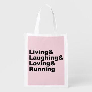 Living&Laughing&Loving&RUNNING (blk) Reusable Grocery Bag