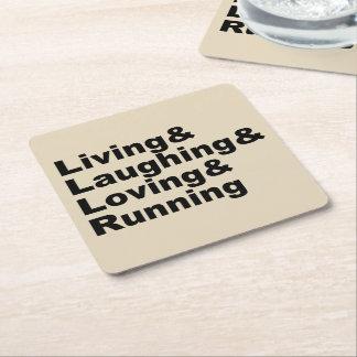 Living&Laughing&Loving&RUNNING (blk) Square Paper Coaster