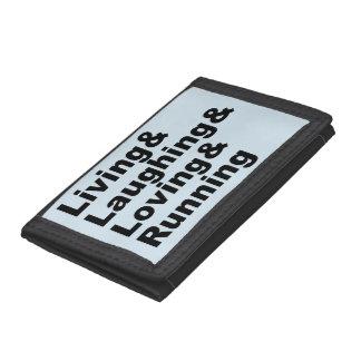 Living&Laughing&Loving&RUNNING (blk) Tri-fold Wallets