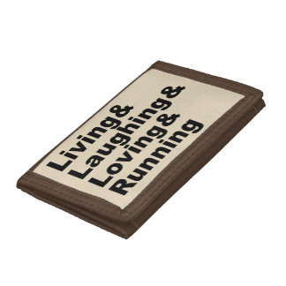 Living&Laughing&Loving&RUNNING (blk) Trifold Wallets