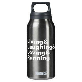 Living&Laughing&Loving&RUNNING (wht) Insulated Water Bottle