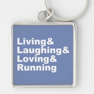 Living&Laughing&Loving&RUNNING (wht) Key Ring