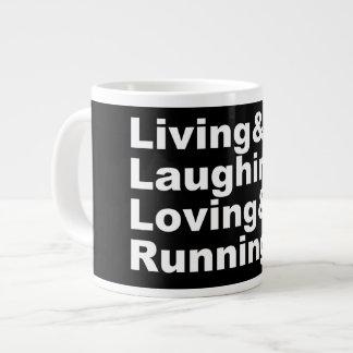 Living&Laughing&Loving&RUNNING (wht) Large Coffee Mug
