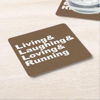 Living&Laughing&Loving&RUNNING (wht) Square Paper Coaster