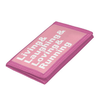 Living&Laughing&Loving&RUNNING (wht) Trifold Wallets
