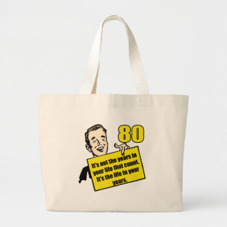 Living Life 80th Birthday Gifts Large Tote Bag