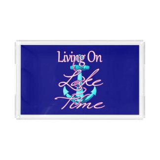 Living On Lake Time Acrylic Tray