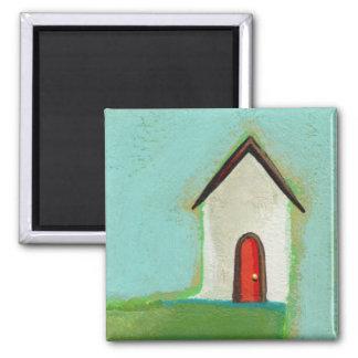 Living on the edge - adorable little house art fridge magnet
