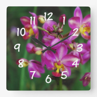 Living Room - Purple orchids Photo Square Wall Clock
