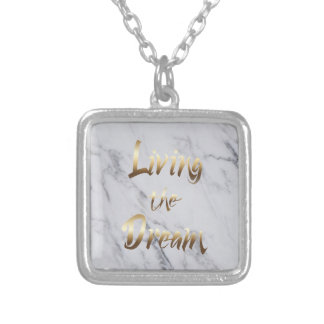 Living The Dream Inspiring Gold Typography Silver Plated Necklace