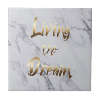 Living The Dream Inspiring Gold Typography Tile