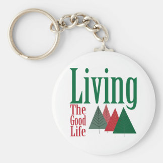 Living the Good Life Christmas Tree Design Basic Round Button Key Ring