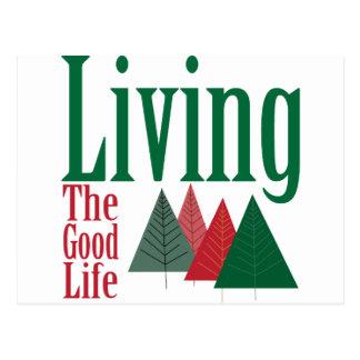 Living the Good Life Christmas Tree Design Post Card