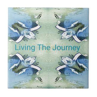 """Living the Journey"" Blue Green Positive Pattern Ceramic Tile"