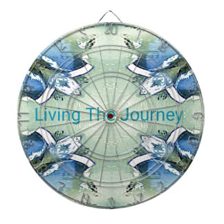 """Living the Journey"" Blue Green Positive Pattern Dartboard"