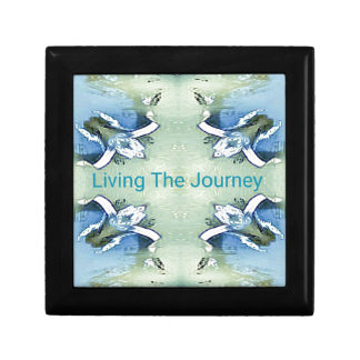 """Living the Journey"" Blue Green Positive Pattern Gift Box"