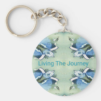 """""""Living the Journey"""" Blue Green Positive Pattern Key Ring"""