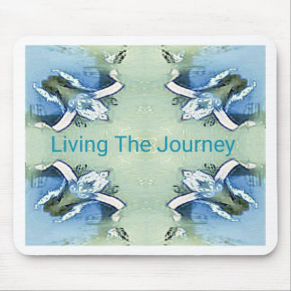 """Living the Journey"" Blue Green Positive Pattern Mouse Pad"