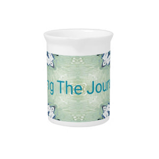 """""""Living the Journey"""" Blue Green Positive Pattern Pitcher"""
