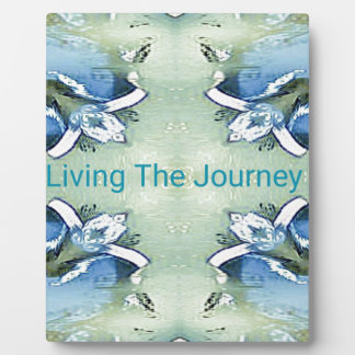 """Living the Journey"" Blue Green Positive Pattern Plaque"