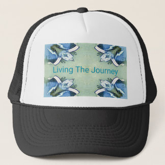 """Living the Journey"" Blue Green Positive Pattern Trucker Hat"
