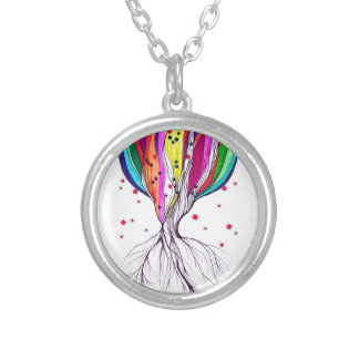 Living Tree - Small Silver Plated Round Necklace