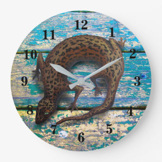 LIZARD AND OLD WOOD by Slipperywindow Large Clock
