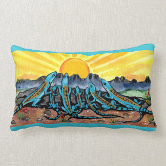 Lizard Family and Sunrise Southwestern  Fun Pillow