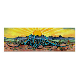 Lizard Family Watching Sunrise Poster Turquoise
