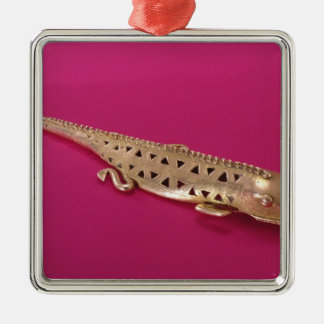 Lizard, from Colombia Silver-Colored Square Decoration