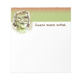 lizard man head funny cartoon style illustration notepad