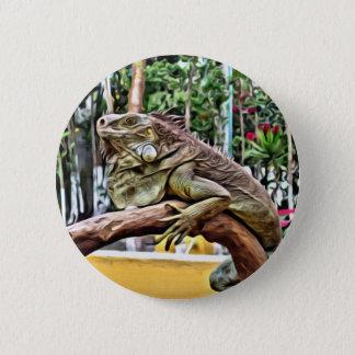 Lizard on a branch 6 cm round badge